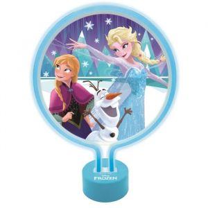 Lexibook Lampe Néon Disney Frozen La Reine des Neiges avec Olaf, Anna et Elsa, Veilleuse Chambre Enfants Fille, Décoration Lumineuse Couleur Bleue, LTP100FZ