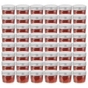VidaXL 48 pcs Pots à confiture avec couvercles argentés Verre 110 ml