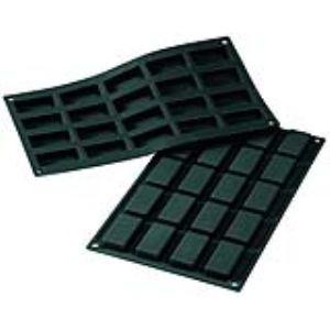De Buyer Moule Moul'flex pour 20 petits savarins rectangulaire en silicone (17,5 x 30 cm)