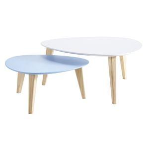 kaligrafik 2 tables basses gigognes triangulaire wood stone en bois comparer avec. Black Bedroom Furniture Sets. Home Design Ideas