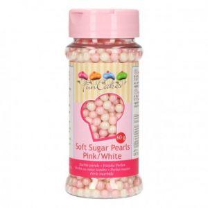 FunCakes Perles comestibles - rose/blanc - 60g