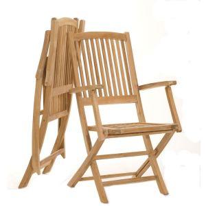 2 fauteuils de jardin pliants Lombock en teck massif