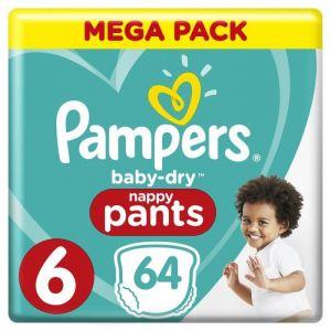 Pampers Baby-Dry Pants Taille 6, 15+ kg, 64 Couches-Culottes - Mega Pack - Les couches-culottes Baby-Dry Pants sont faciles à enfiler et à enlever en déchirant les côtés.