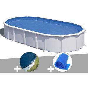 Gre Kit piscine acier blanc Atlantis ovale 8,15 x 4,90 x 1,32 m + Bâche hiver + Bâche à bulles