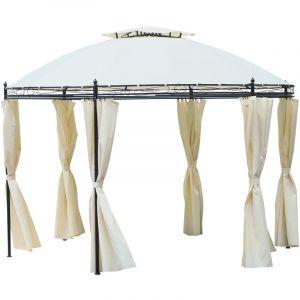 Outsunny Tonnelle pavillon de Jardin Rond dim. Ø 3,5L x 2,75H m Double Toit 6 Rideaux latéraux Polyester crème métal époxy Noir