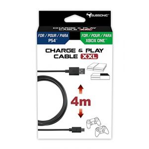 Subsonic Câble Charge & Play XXL Manette PS4/Xbox One 4m