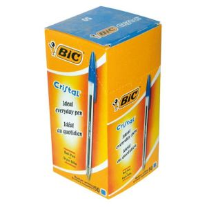 Bic 50 stylos bille Crista Ecolutions encre bleue pointe moyenne