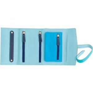 Dudu Porte-Bijoux pour Le Voyage en Cuir Véritable modèle Petit Sac pour Femme avec 3 Zip et 8 Trous pour Les Boucles d'oreilles Bleu