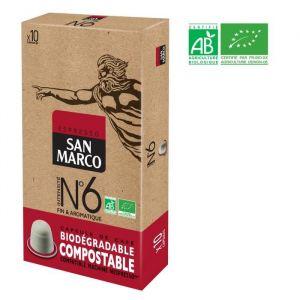 San Marco Café Espresso N°6 Compatible Nespresso Bio & Compostable - 10 capsules Café Espresso N°6 - Café BIO - Compatible Nespresso - Biodégradable et compostable - Fin et aromatique - 10 capsules