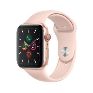 Apple Watch Watch Series 5 GPS + Cellular 44mm, Boitier Aluminium Or avec Bracelet Sport Rose - S/M & M/L