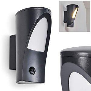 Hofstein Applique d'extérieur Aria en métal anthracite, lampe murale moderne avec détecteur de mouvement parfaite pour une entré ou un garage, pour 1 ampoule E27 max. 60 Watt, compatible ampoule LED
