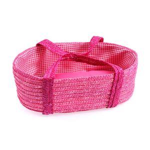 Egmont Toys Couffin en osier rose avec garniture vichy rose