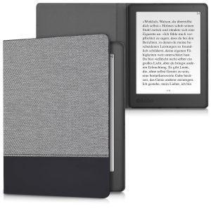Kwmobile Housse canvas pour Kobo Aura H2O Edition 2 - E-Book case cover en lin étui de protection en gris foncé noir
