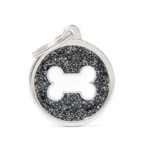 Myfamily Médaille shine grand cercle noir os blanc