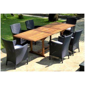 Wood-en-stock Table de jardin Flores en teck avec 6 fauteuils Sydney en résine