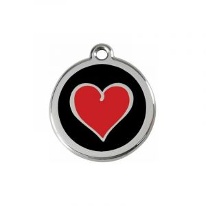 RedDingo Médaille pour Chien Noir Cœur Rouge 20 mm
