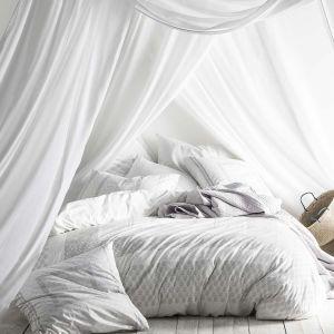 Essix Housse de couette 100% percale de coton motif fleuri gris/blanc LEGENDE 260x240cm