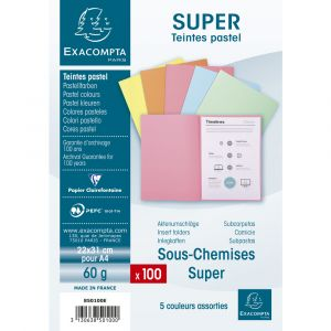 Exacompta 850102E - Paquet de 100 sous-chemises SUPER 60, coloris bulle
