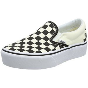 26e250d074a Vans Chaussures Checkerboard Classic Slip-on Platform (black   White  Chckerboard-white)