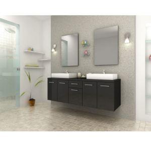 Meuble salle bain double vasque noir - Comparer 189 offres