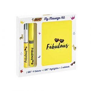 Bic My message kit Fabulous - Stylo bille, Surligneur et Carnet
