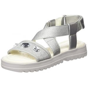 Geox Coralie F, Sandales Bout Ouvert Fille, Argent (Silver), 31 EU
