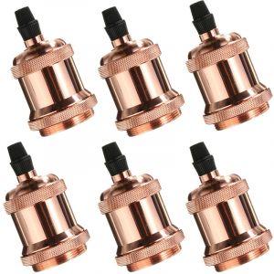 Axhup 6×Rétro Douille d'ampoule E27 Edison LED, Vintage Style Adaptateur de Lampe Spiral Support 110-220V pour Suspension Lustre Plafond, Or rose