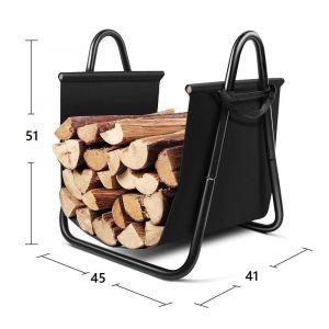 BC-Elec Bc elec - HMFR-10 Rangement à bois en acier noir 46X41X51CM, panier pour bois de chauffage, range-bûches