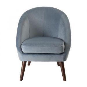 BLANC Fauteuil Pieds bois tissu velours bleu clair