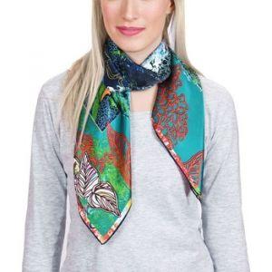 Allée du foulard Carré de soie Premium Salinas Bleu