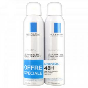 La Roche-Posay Déodorant physiologique 24h - Spray anti-odeurs, anti-humidité - 2 x 150 ml