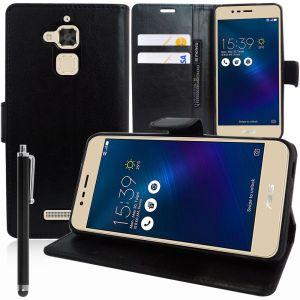 Vcomp Asus Zenfone 3 Max Zc520tl 5.2: Etui Housse Coque Pochette Portefeuille Livre Support Video Cuir Pu - Noir + Stylet