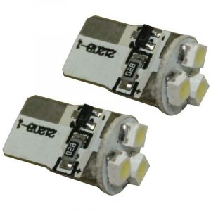 Aerzetix : 2x Ampoules T10 W5W W3W 12V à 3 LED SMD - C1731- Pour veilleuses feux de position plafonnier plancher éclairage intérieur plaque d'immatriculation