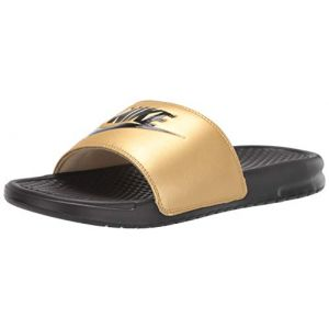 Nike Women's Benassi Just Do It. Sandal, Chaussures de Plage & Piscine Femme, Multicolore (Black/Black/Metallic Gold 014), 39 EU