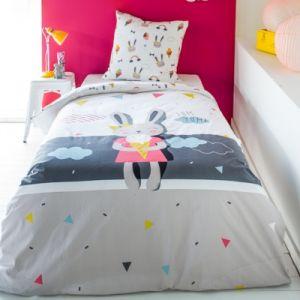 Today Parure de couette en coton Happy Miss Bunny - 140 x 200 cm