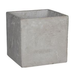 MICA Lot de 2 Cache-pots carrés Jimmy - Gris - Longueur: 17cm - Largeur: 17cm - Hauteur: 16.5cm