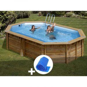 Sunbay Kit piscine bois Cannelle 5,51 x 3,51 x 1,19 m + Bâche à bulles