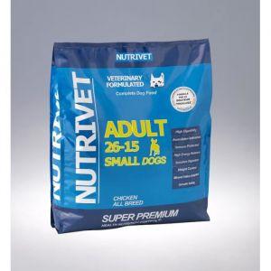Nutrivet SUPER PREMIUM Croquettes chien adulte 26/15 petite race 15kg 0% blé