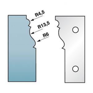 Diamwood Platinum Jeu de 2 fers profilés Ht. 90 x 5,5 mm corniche N°1 M590.301 pour porte-outils de toupie