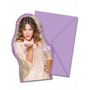 6 cartes d'invitation avec enveloppes Violetta