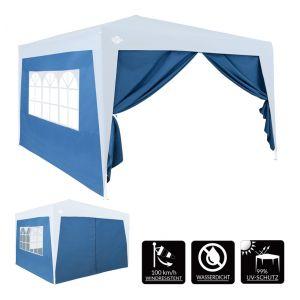 Deuba 2X Parois latérales pour tonnelle Pop up pavillon fenêtre Hydrofuge 300x200cm Bleu Jardin été Mur côté tonnelle fête