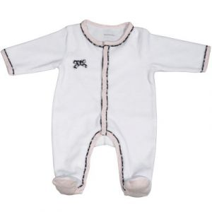 Sauthon Miss Chipie pyjama en velours - Blanc - 3 mois