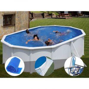 Gre Kit piscine acier blanc Bora Bora ovale 5,27 x 3,27 x 1,22 m + Bâche à bulles + Tapis de sol + Kit d'entretien