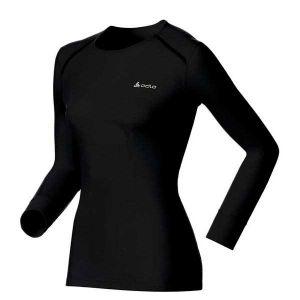 Odlo T-Shirt Femme Manches Longues Warm col ras de cou - Noir Noir - Femme