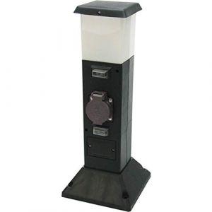 Heitronic 35112 A + + Lampe sur pied d'extérieur, Plastique, E14, noir, 8 x 16 x 40 cm
