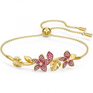 Swarovski BRACELET 5521058 - Bracelet Métal Or Feuille et fleur rouge strass