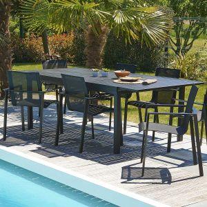 DCB Garden Miami - Table de jardin avec allonge tout aluminium 180/240 x 110 x 73 cm