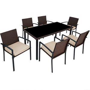 TecTake Salon de Jardin 6 Chaises et 1 Table en Résine Tressée Structure Acier Marron