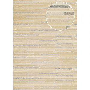 Atlas Papier peint aspect pierre carrelage ICO-6705-5 papier peint intissé lisse à l'aspect de pierre satiné beige blanc-crème bronze 7,035 m2