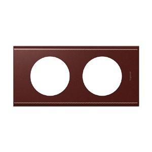 Legrand Plaque Céliane 2 postes cuir lie de vin